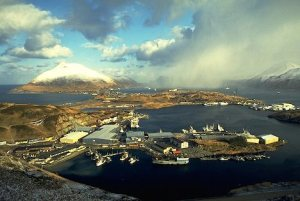 Aerial view of Aleutian Chain and Unalaska