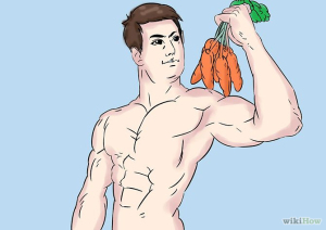A shirtless hunk who's giving the sexy eye to a bundle of raw carrots.