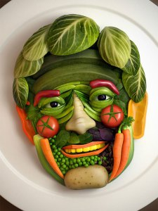 The face of an elderly man, artistically made using only raw vegetables