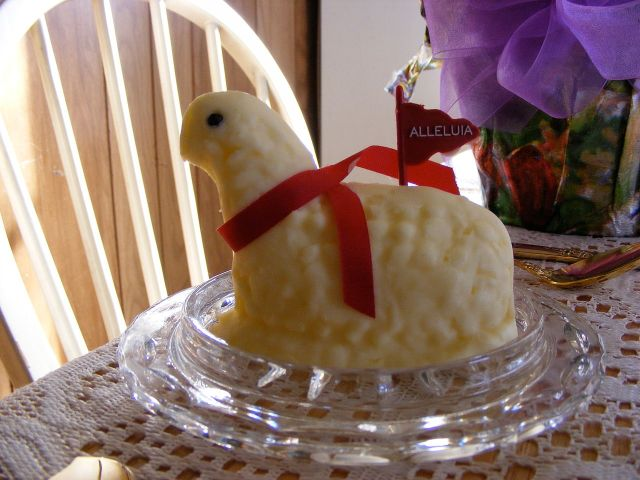 A traditional Polish Butter Lamb. It totally looks like a turtle or a duck