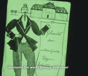 A terrifying illustration of a man with a large mustache and a tiny waist. His name is Gilermund, and he's a world famous dollmaker.