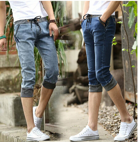 Men's Skinny Jean Shorts Cuffed Capri No One Believes Straight Men Wear These Right